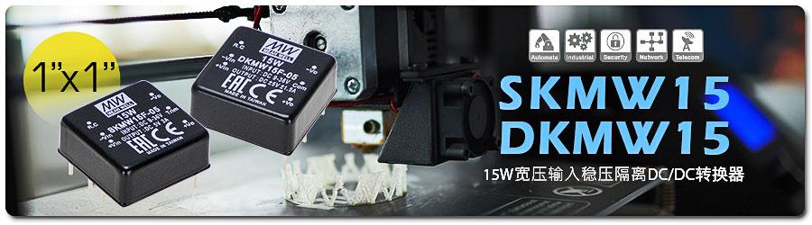 SKMW/DKMW15系列 15W 1〞x 1 〞宽压输入稳压隔离DC/DC转换器